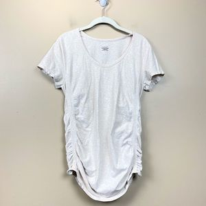 Athleta pure tee ruched side tan beige large